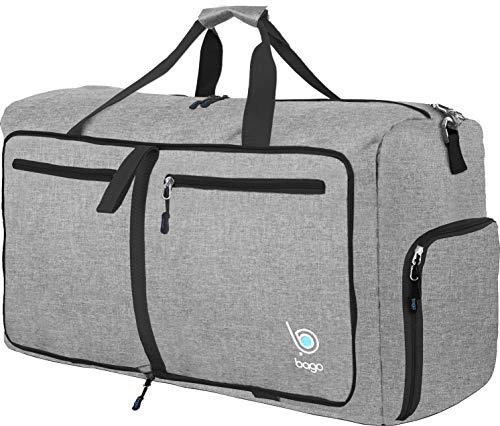 Bago 60L Duffle bags for men & women - 23 Foldable Travel Duffel weekender bag (Snow Gray)