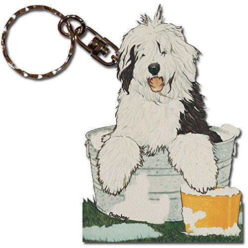 PP Old English Sheepdog Wooden Dog Breed Keychain Key (Sheepdog Dog Keychain)