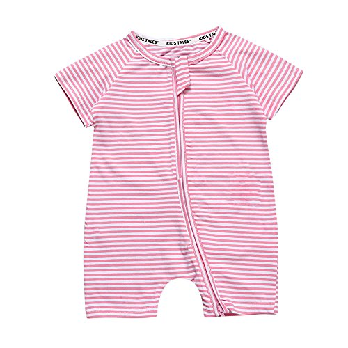 - Kids Tales Toddler Baby Girls Striped Short Sleeve Zipper Romper Infant 1Piece Pajama Onesies Pink