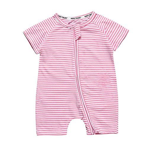 Kids Tales Toddler Baby Girls Striped Short Sleeve Zipper Romper Infant 1Piece Pajama Onesies Pink]()