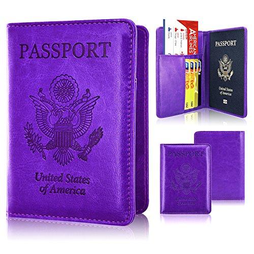 Passport Holder Case, ACdream Protective Premium PU Leather RFID Blocking Wallet Case for Passport, Dark Purple