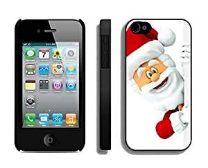 Case For Iphone 4/4S Cover,Smiled Christmas Santa Claus Silicone Black Case For Iphone 4/4S Cover