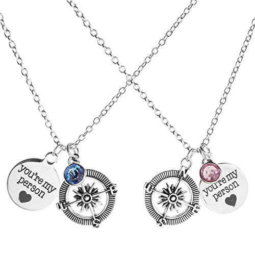 Compass Crystal Pendant Necklace Couples