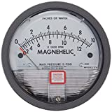 "Dwyer Magnehelic Series 2000 Differential Pressure Gauge, Range 0-10""WC and 0-12500 Fpm"