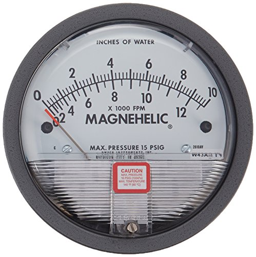 "Dwyer Magnehelic Series 2000 Differential Pressure Gauge, Range 0-10""WC & 0-12500 fpm"