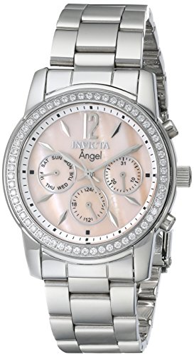 Invicta Womens 11769 Angel Pink Mother-Of-Pearl Dial Cubic Zirconia Accented Stainless Steel Watch