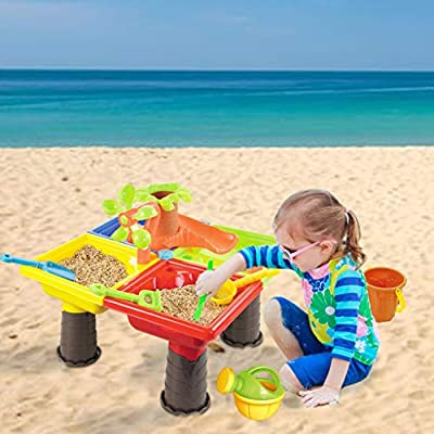 Sand Table Toys Children's Square Sand Water Center Two in One Adjustable Activity Suitable for Children Under 3-5 Years Old Outdoor Toys Covered Summer Beach Outdoor Toys (Multicolour): Toys & Games