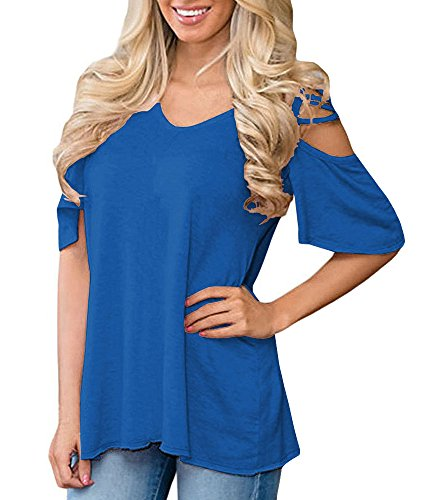 Women's Solid Color Cold Shoulder Blouse Oversized for sale  Delivered anywhere in Canada