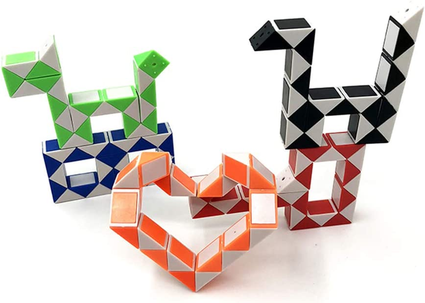5PCS Speed Cube Snake Ruler Magic Snake Cube Puzzle Pack 24 Wedges Twist Puzzle Toys Game Toys Collection Brain Teaser Stickerless Cube Toys Christmas Birthday Gifts