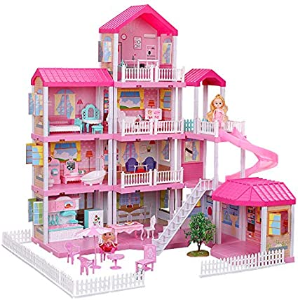 Dollhouse With Dollhouse Furniture And Dolls Dream Doll House For Little Girls 5 Year Olds 1 12 Scale For Kids Pretend Play Doll House Toy Playset Perfect Toddler Girls And Kids Toy