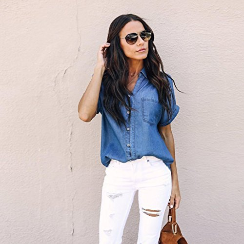 Denim Jean Pingtr Bouton Bleu Chemise Femmes Mode Veste Fonc Hauts Bleu Blouse xYEOYrw