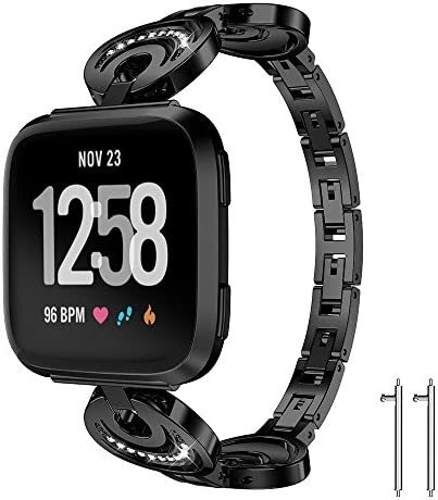 for Fitbit Versa Metal Band Newest Replacement Accessory Metal Watch Bands Bracelet for Fitbit Versa Smart Watch 4 Colors Available (Black 5.8-8.1 Inches Wrist)
