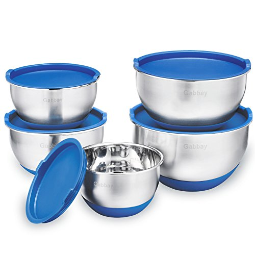 5 Piece Stainless Steel Mixing Bowls Set With Lids, Non-Slip Silicone Bottom, Stackable For Minimal Storage by Gabbay- 1 ,2 ,2.5 ,3.5 ,4.5 Qt. by Gabbay