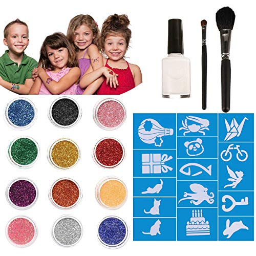 Chnaivy Glitter Tattoos 12 Colors Temporary Make Up Body Glitter Face Paint 30 Sheets Cute Stencils of Glitter 1 Glue 2 Brushes,Waterproof Adhesive Birthday Gift for Kids Girls DIY Party Supplies from Chnaivy