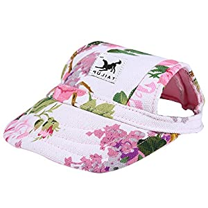 CALIFORNIA CADE ELECTRONIC Cade Flower Pattern Nylon Baseball Cap/Dogs Hat/Visor Cap with Ear Holes for Small Dogs (Floral Print-M)