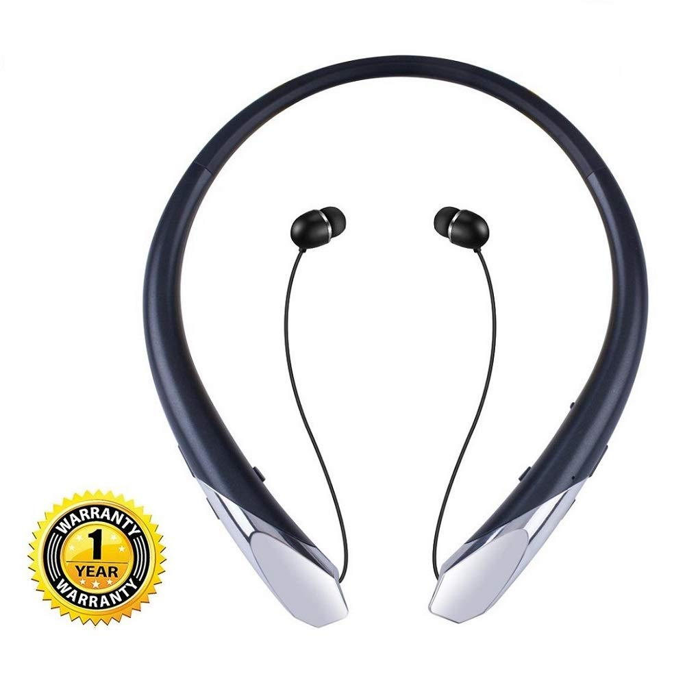 Joyphy Bluetooth Retractable Headphones, Wireless Neckband Headset Noise Cancelling Stereo Earbuds Sports Earphones with Mic for iPhone Android (Black)