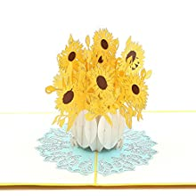 Liif Sunflower Pop up Card, Pop up Floral Card, 3D Greeting Card for All Occasions, Birthday, Mother's Day, Anniversary, Get Well, Wedding, Congratulations, Handmade Gift (Sunflower Yellow)