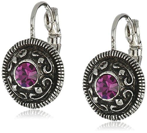 1928 Jewelry Silver-Tone Round Drop Earrings