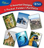 New Generation - Wild Life - 2 Pocket Folders / Portfolio 6 PACK Letter Size with 3 Hole Punch to use with your Binder Heavy Duty Glossy Finish UV Laminated Folder - Assorted 6 Fashion Design (6 PACK)