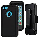 iphone5c clip case - iPhone 5c Holster case,Auker Defender 3in1 Shock Absorbing Heavy Duty Rugged Hybrid Rubber Anti-Slip Scratch Resistant Full Body Protective Case with Built-in Screen Protector for iPhone 5c (Black)