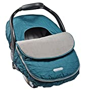 JJ Cole - Car Seat Cover, Weather Resistant Stretch Canopy for Protection, Safety, and Warmth, Teal Fractal, Birth and up