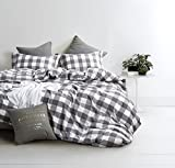 Washed Cotton Duvet Cover Set, Buffalo Check Gingham Plaid Geometric Checker Pattern Printed in Gray Grey and White, 100% Cotton Bedding, with Zipper Closure (3pcs, Queen Size)