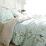 FADFAY Vintage Floral Print Bedding Set Elegant French Country Style Bed Sheet Set 4Pcs Queen