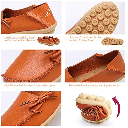 CIOR Womens Genuine Leather Loafers Casual Moccasin Driving Shoes Indoor Flat Slip-on Slippers 2.orange IZ9M9x5