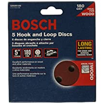 Bosch SR5R180 Random Orbit Sander Hook and Loop 8 Hole Disc 5-Inch 180 Grit Sand Paper, Red, 5-Pack
