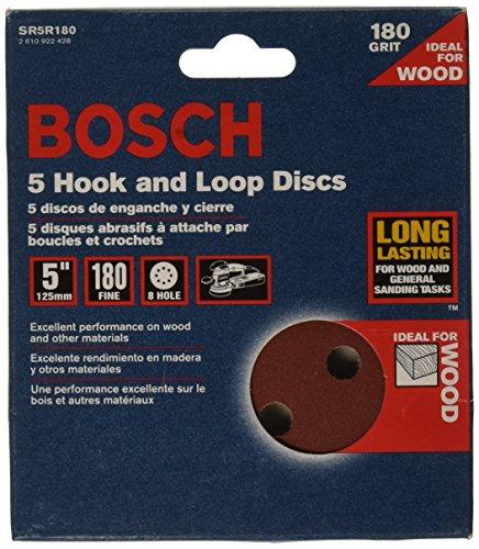 (Bosch SR5R180 5-Piece 180 Grit 5 In. 8 Hole Hook-And-Loop Sanding Discs )