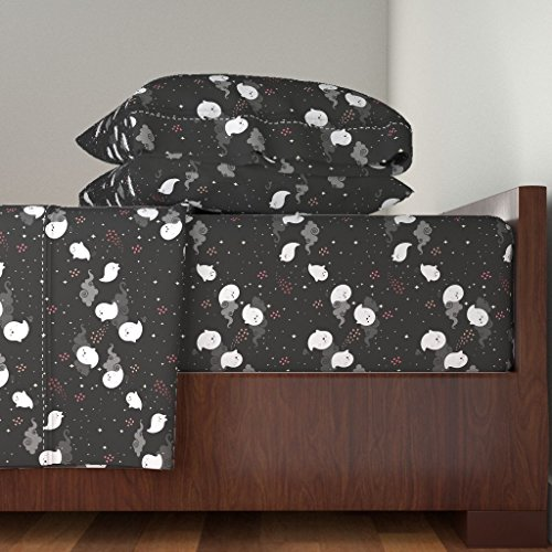 Roostery Ghost 4pc Sheet Set Spooky Wooky by Kimsa Queen Sheet Set Made -