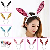Sequins Bunny Ears Headband, Pack of 6 Hairbands in Assorted Colors for Party Decoration Accessories Party Favors ,Costplay, Birthdays, Halloween, Baby Showers, Everyday Wear,Fits Adults and Children