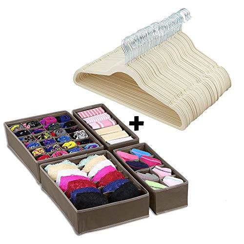 Velvet Hangers, 50 Pack, w/ Drawer Closet Organizer Divider Set of 4, Durable & Flexible Non Slip Suit Hanger with 360 Swivel Hook   Beige/Ivory ()