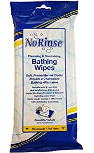 No Rinse Bathing Wipes, Microwaveable Hypoallergenic and Latex-Free (8 Wipes)