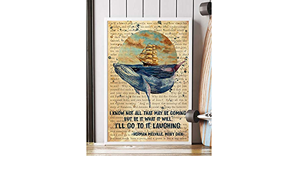 Whale Print Framed Moby Dick Quote Rustic Coastal Wall Decor Book Lover Gift White Whale Quote Literature Gift for Reader