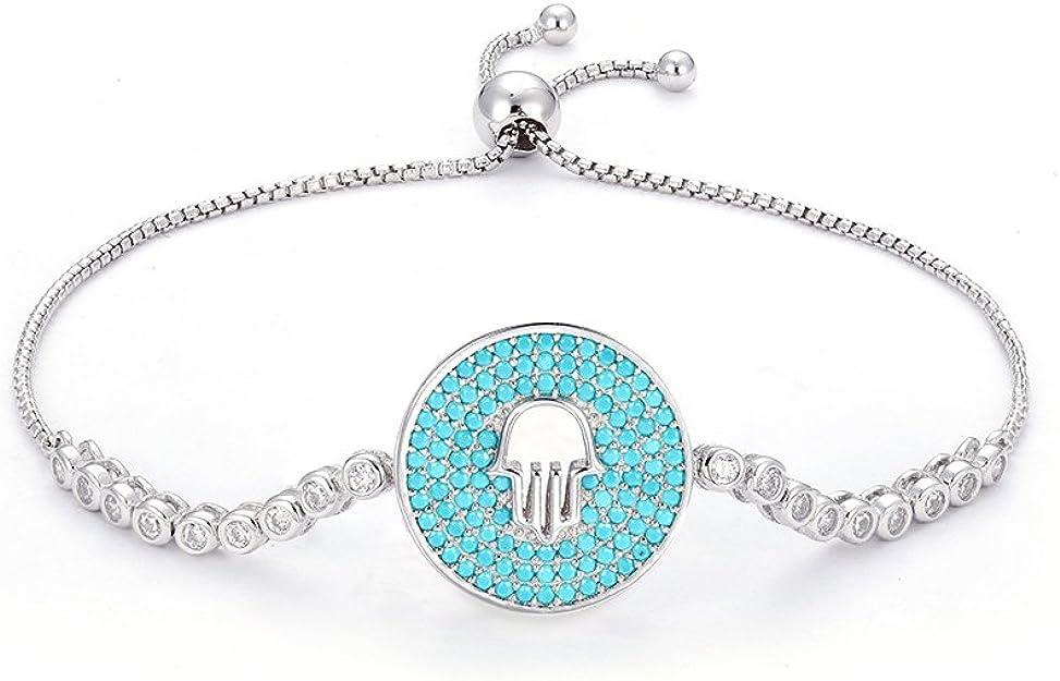 Argent Sterling Bleu Zircone Cubique Hamsa Mauvais Oeil Réglable Bracelet