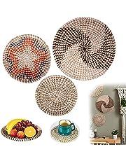 Desenla Boho Wall Decor Woven Baskets Set, Handmade Natural Seagrass Boho Baskets, for Dining room, Bedroom, Living Room, Garden or Hallway etc, Set of 3 Boho Decor