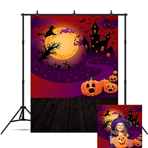 Halloween Backdrop Terrible Glowing Castle Bat Flying Witch in Moonlight for Party Decorations Baby Children Portrait Photography Celebration Home Party Banner Background Supplies Photo Studio Booth 5 -