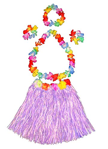 Girl's elastic Hawaiian hula dancer grass skirt with flower costume set -purple