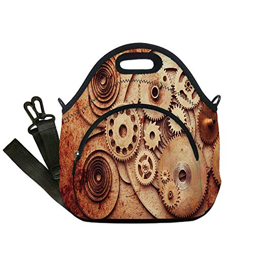 Clock Copper Mechanical (Insulated Lunch Bag,Neoprene Lunch Tote Bags,Copper,Mechanical Clocks Details Old Rusty Look Backdrop Gears Steampunk Design Decorative,Dark Orange Peach,for Adults and children)