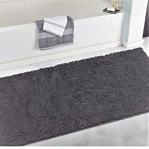 "LuxUrux Chenille Bathroom Rug Mat Runner (47"" x 27""), Extra Soft Absorbent Large Shaggy Rugs, Perfect Plush Carpet Mats Tub, Shower Bath Room, Machine Wash/Dry (Dark Grey) (Dark Gray, 27"" x 47"")"