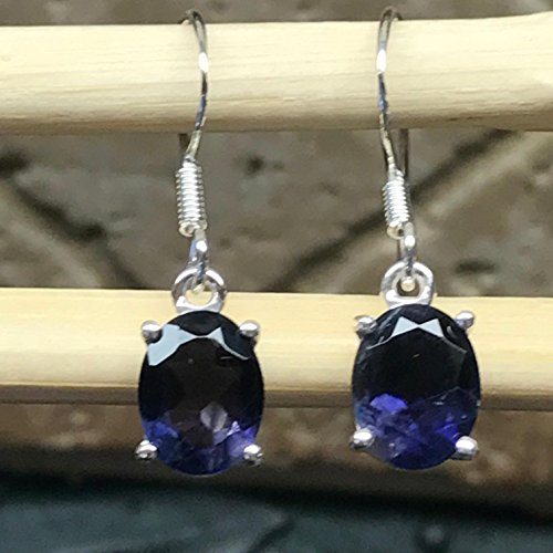 (Natural 2.5ct Iolite Water Sapphire 925 Solid Sterling Silver Dangle Earrings 25mm)