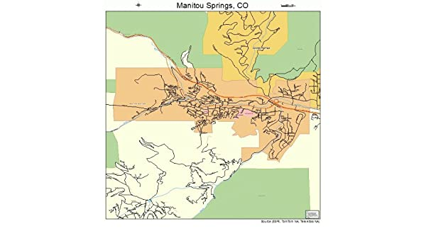 Amazon Com Large Street Road Map Of Manitou Springs Colorado Co