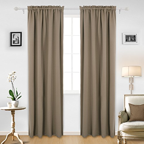 Deconovo Solid Rod Pocket Curtain Panel Thermal Insulated Blackout Curtains Room Darkening Curtains 42W x 95L Inch Khaki 2 Panels (Rod Pocket Panel Set)