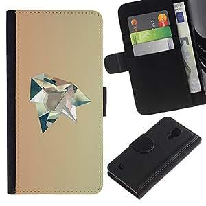 For SAMSUNG Galaxy S4 IV / i9500 / i9515 / i9505G / SGH-i337,S-type® Polygon Art Beige Futuristic - Dibujo PU billetera de cuero Funda Case Caso de la piel de la bolsa protectora