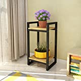 Flower Racks Wrought Iron Multi-storey Interior Balcony Plants Shelf 2 Layer 353065CM ( Color : A )