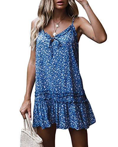 Ruffle Bottom Tank Dress - Saikesigirl Womens Floral Spaghetti Strap Mini Dress Boho V Neck Loose Fitting Ruffle Bottom Short Party Club Dresses