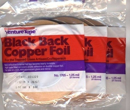 Foil Venture Copper (3 Rolls - value pack 7/32 inch Venture Black Backed Copper Foil)