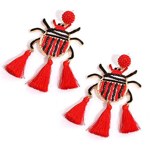 NVENF Bead Tassel Earrings for Women/Girls Cute Ladybug Fringe Statement Dangle Earrings Beetle Pendant Dangling Earrings (Black&Red)