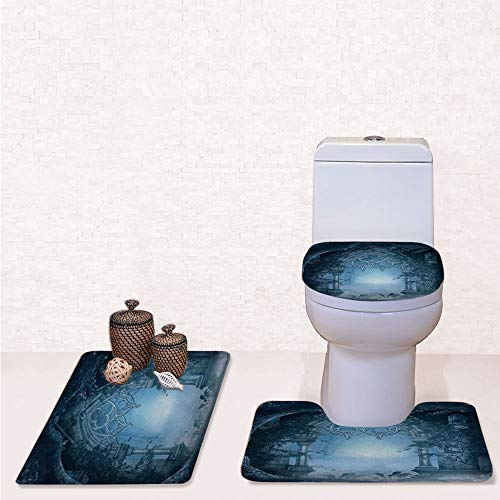 Print 3 Pieces Bathroom Rug Set Contour Mat Toilet Seat Cover,Passage Doorway Through Enchanted Foggy Magical Palace Garden Night Scenery with Navy Gray,decorate bathroom,entrance door,kitchen,bedroo